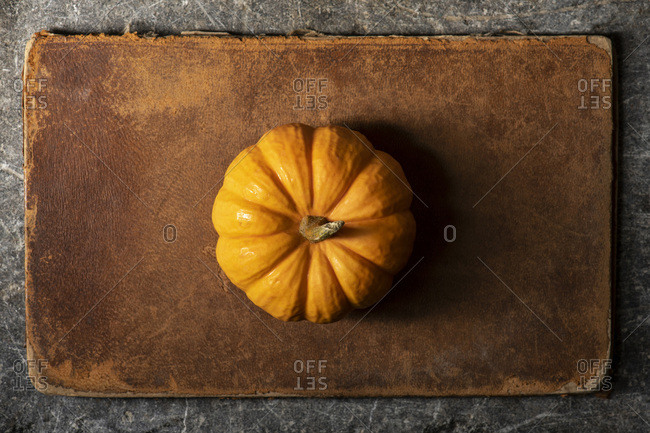 Small orange pumpkin on a worn leather and stone surface. Moody natural lighting, overhead.