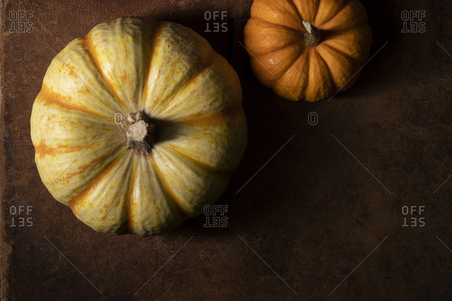 2 mini pumpkins offset on a worn leather surface. Moody natural lighting, overhead.