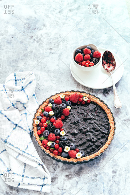 Crostata tart with blueberry jam