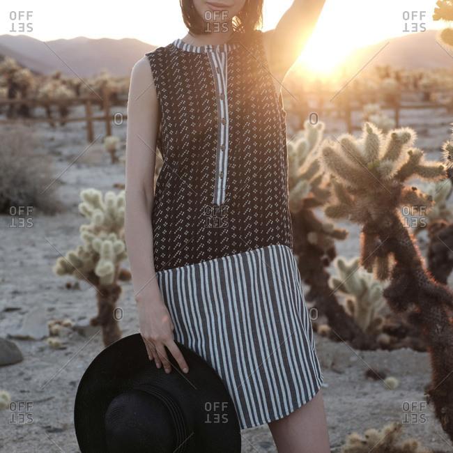 Woman wearing stylish dress in the desert