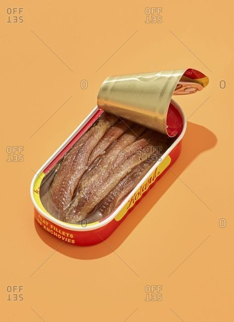 September 21, 2018: Anchovies in red and yellow tin