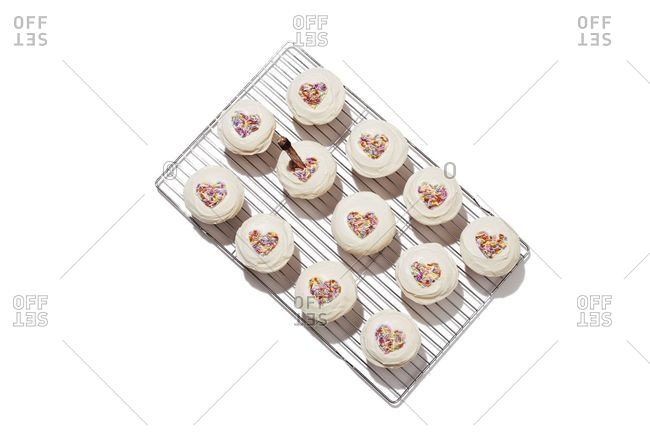 Cupcakes with heart sprinkles