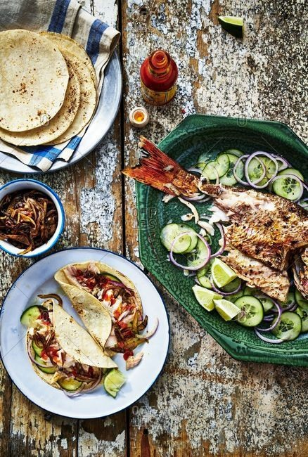 February 27, 2018: Overhead view of fish tacos
