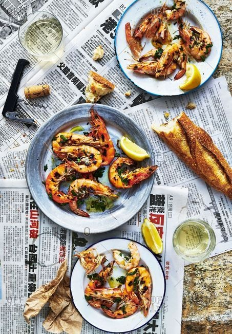 February 27, 2018: Overhead view of cooked prawns