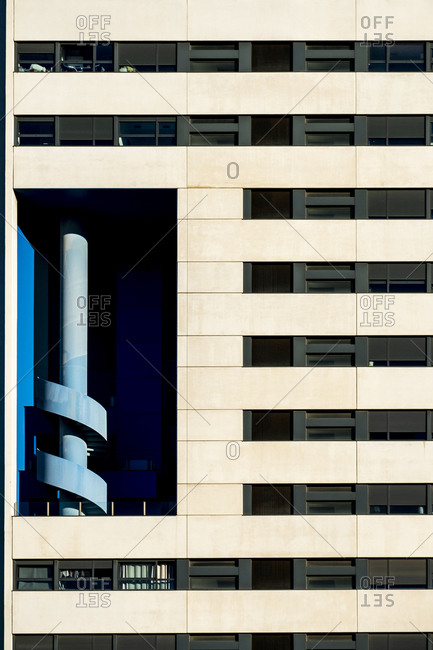 Architectural detail in a modern building in the city of Hospitalet in the province of Barcelona in Catalonia Spain