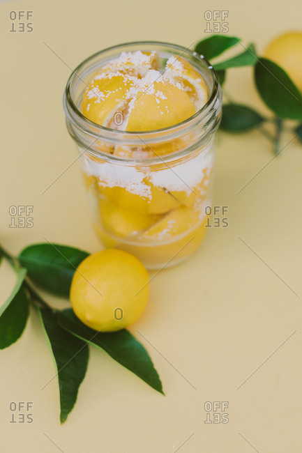 Homemade organic lemon preserve and juice