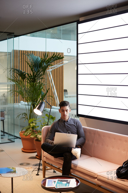 Young businessman working on a laptop computer sitting on a sofa in a casual office, close up