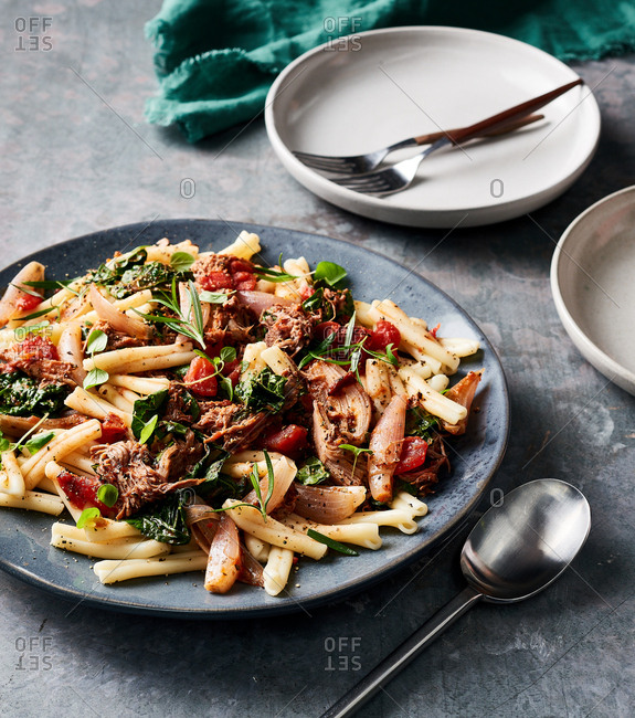 A bowl of Pork Ragout Over Casarecce Pasta