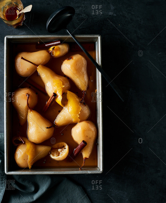 A tray of Sorghum Poached Pears