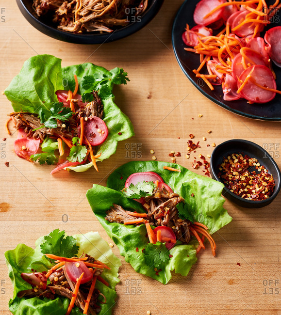 Soy-Glazed Pork in Lettuce Cups