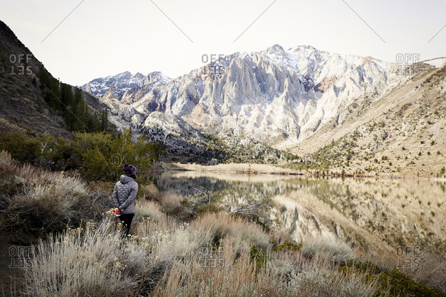 Rear view of woman looking out at Convict Lake