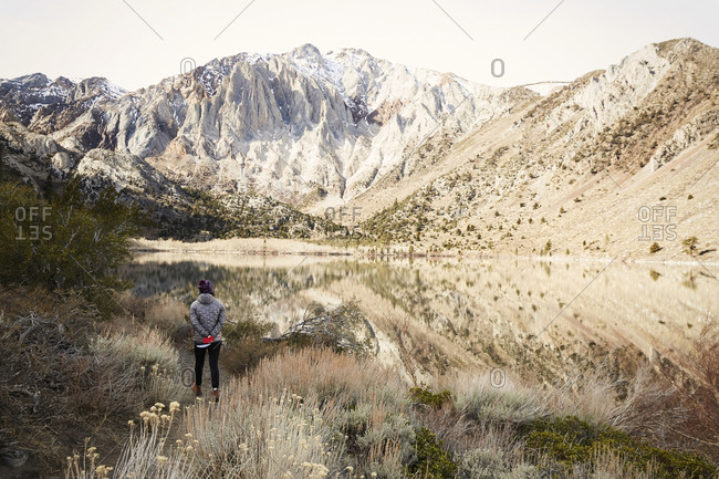 Rear view of woman hiking at Convict Lake