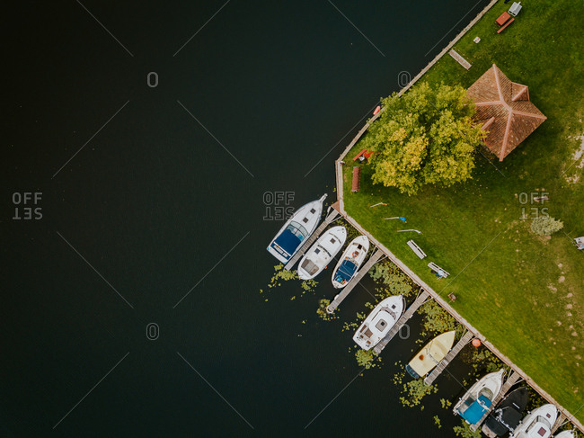 Aerial view of small boats in a marina