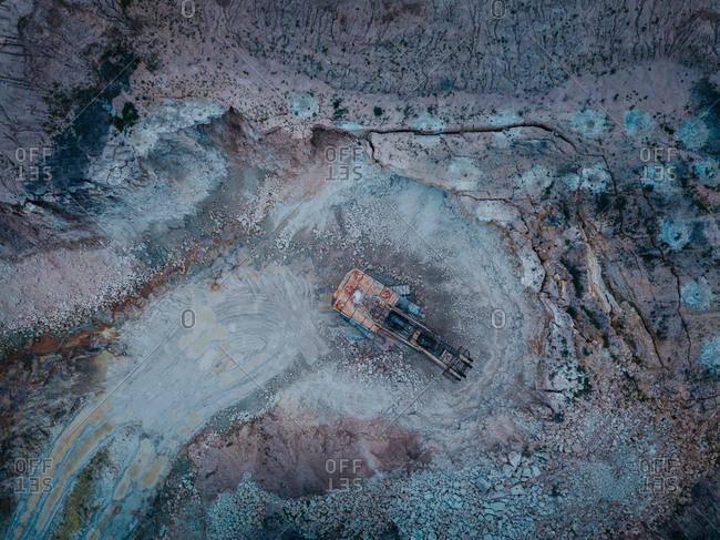 Aerial view of excavator at mining site