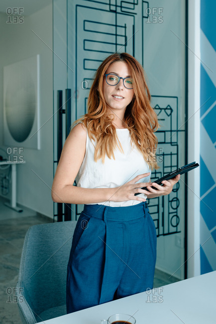 Young redhead business woman holding a meeting in modern office