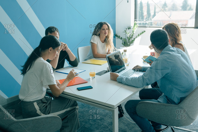 Group of people in a business meeting in modern office