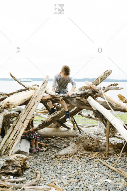 Playful siblings sitting on logs at beach against clear sky