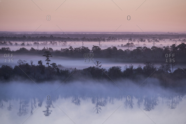 Scenic view of lake and trees against sky during foggy weather at sunrise