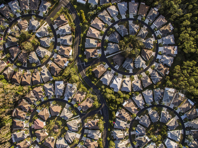 Aerial view of circular shaped residential area