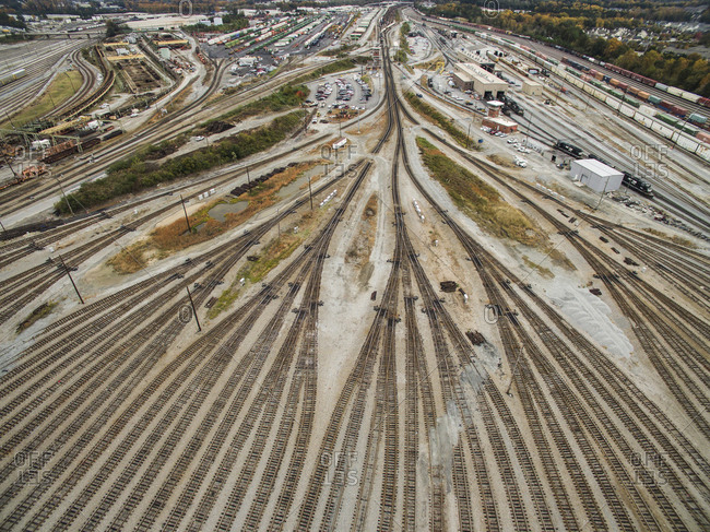 Aerial view of empty railroad tracks at shunting yard