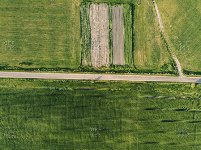 Aerial view of empty road amidst agricultural landscape during sunny day