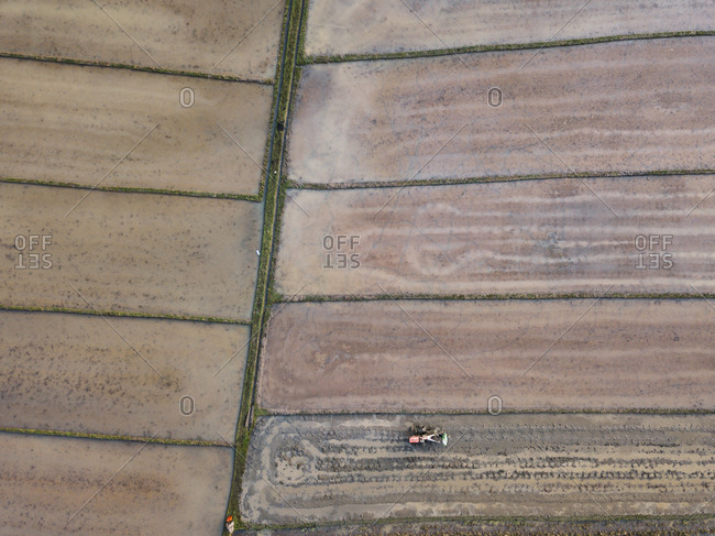 Aerial view of tractor on agricultural field at Bali