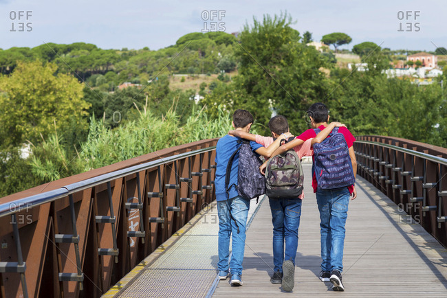 Rear view of friends with arms around walking on footbridge during sunny day