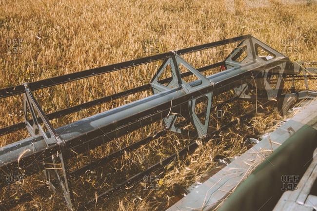 Combine harvesting fields