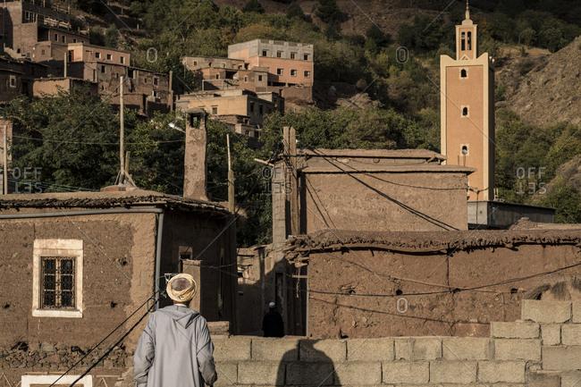 Man in djellaba in the village of Tamatert