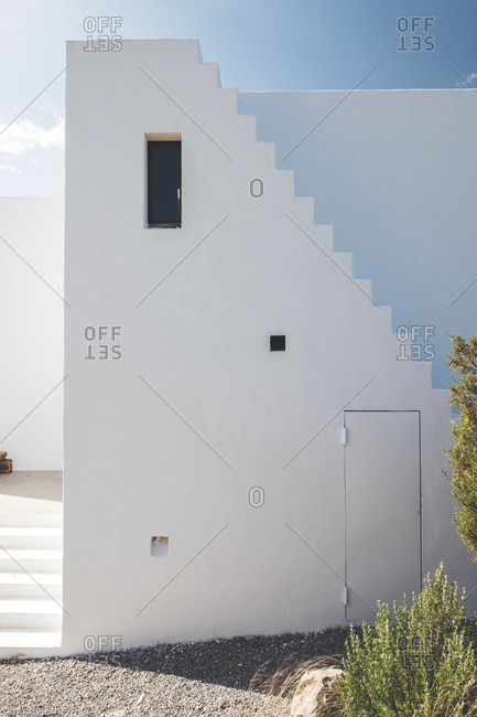 Exterior of white building on Mediterranean island