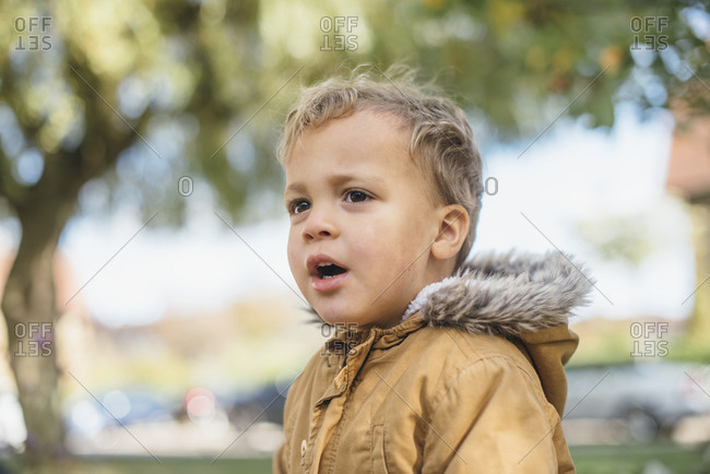 Portrait of a toddler boy wearing jacket with furry hood
