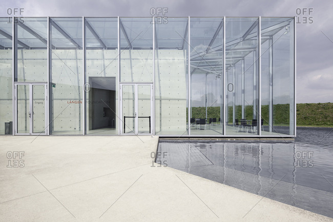 Neuss, Germany - May 15, 2010: Glass structure of the Langen Foundation Neuss Hombroich