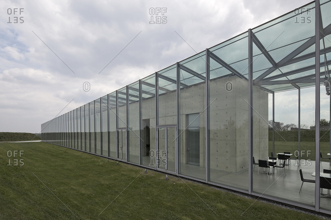 Neuss, Germany - May 15, 2010: Glass exterior of the Langen Foundation Neuss Hombroich