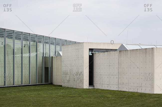 Neuss, Germany - May 15, 2010: Concrete and glass exterior of the Langen Foundation Neuss Hombroich