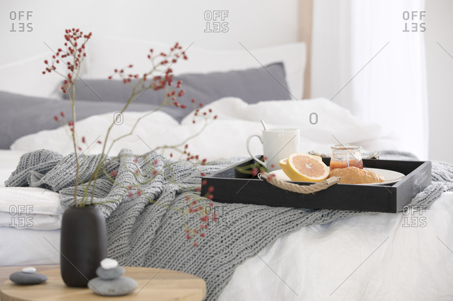 Tray with breakfast served in bed