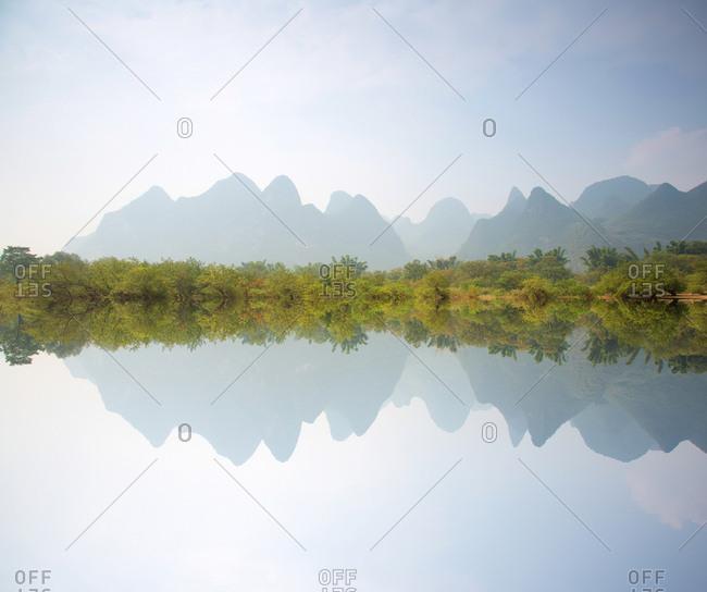 Li River reflected karts mountains, Guilin, China