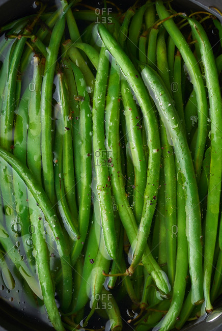 French beans cooked in water