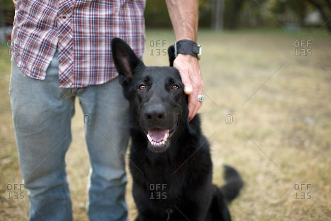 Man petting his black dog