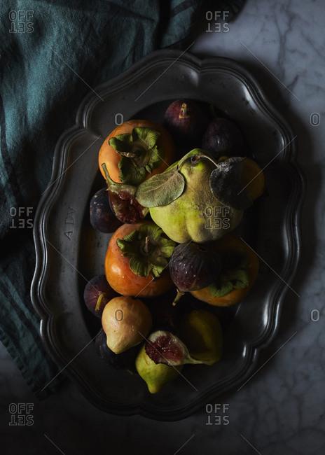 Ripe fall fruit on a platter