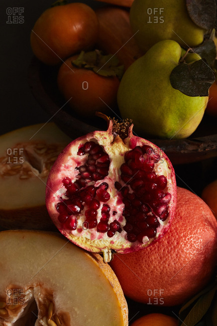 Fresh pomegranate fruit with seeds