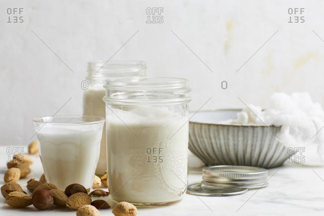 Nut milk on marble surface