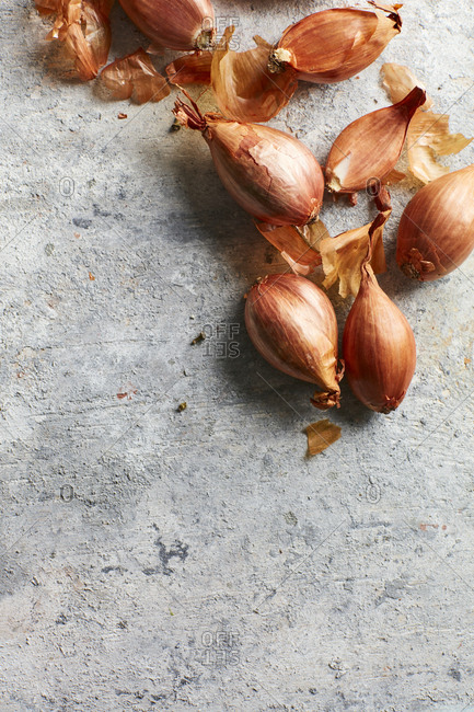 Shallots on concrete background