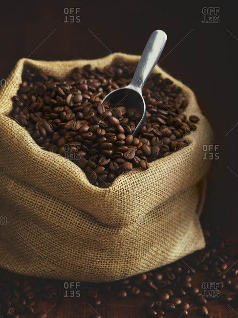 Sack full of coffee beans