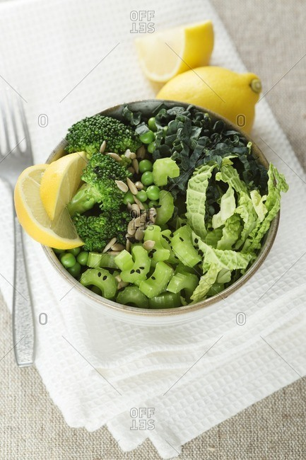 Green vegetables in bowl