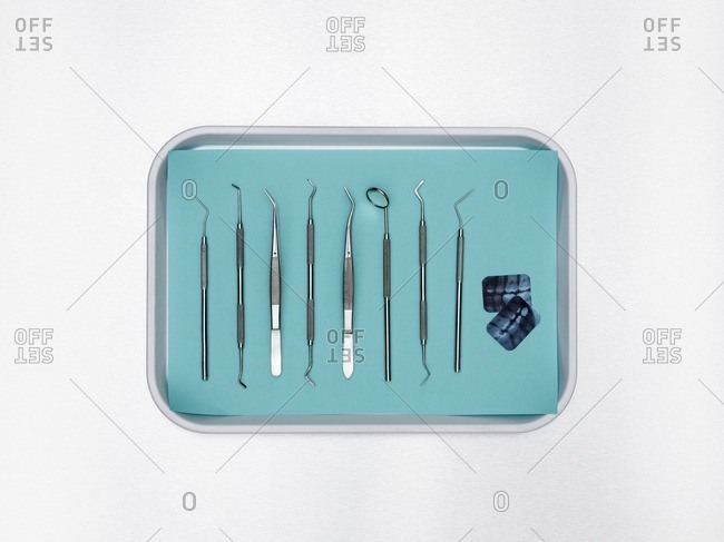 Dental equipment in a tray