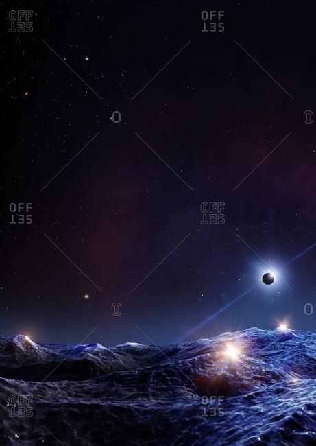 Pulsar seen from orbiting planet, illustration