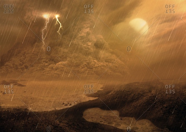 Dust storm on Titan, illustration