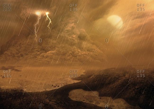 Dust storm on Titan, illustration