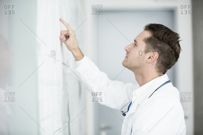 Mature male doctor inspecting white board