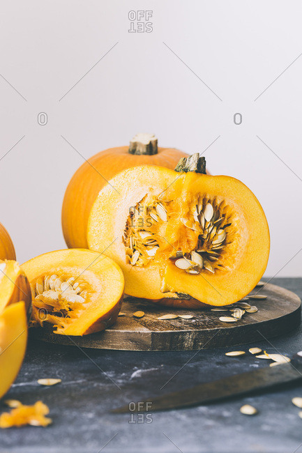 Still life of Pumpkins , sliced and whole